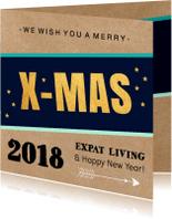 Zakelijke kerstkaarten - Zakelijke kerstkaart kraft xmas goud - LB