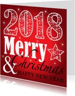 Zakelijke kerstkaarten - Zakelijke kerstkaart typografie 2018 rood - LB