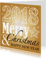 Zakelijke kerstkaarten - Zakelijke kerstkaart typografie goud 2018