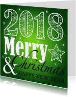 Zakelijke kerstkaarten - Zakelijke kerstkaart typografie groen - LB