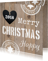 Zakelijke kerstkaarten - Zakelijke kerstkaart typografie hout - LB