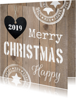 Zakelijke kerstkaarten - Zakelijke kerstkaart typografie hout