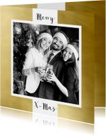 Zakelijke kerstkaarten - Zakelijke kerstkaart wit kader goud eigen foto 2019