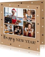 Nieuwjaarskaarten - Zakelijke nieuwjaarskaart  fotocollage kraft driehoekjes