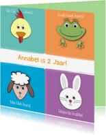 Verjaardagskaarten - Zoe-t dierenkaart met naam en leeftijd 2