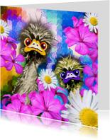Zomaar kaart met struisvogels en met bloemen