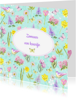 Zomaar kaarten - Zomaar voorjaarsbloemen vogeltje