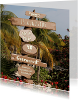 Jubileumkaarten - Zomer palmbomen paal hout 4knt