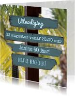 Uitnodigingen - zomerse kaart blauw drijfhout 4k