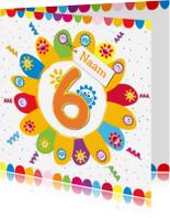 Verjaardagskaarten - zonnebloemen 6 jaar met eigen naam