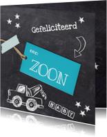 Felicitatiekaarten - Zoon geboren krijtbord