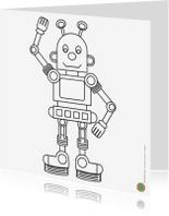 Kleurplaat kaarten - Zwaaiende robot wil kleur