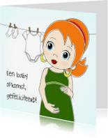 Felicitatiekaarten - Zwanger meisje met rood haar