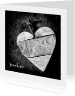 Condoleancekaarten - Zwart wit foto hart uit hout - OT