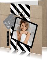 Uitnodigingen - Zwart Wit Strepen Papier
