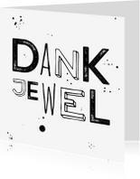 Bedankkaartjes - Zwart wit trendy bedank kaart