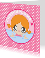 Geslaagd kaarten - Zwemdiploma A meisje