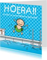 Geslaagd kaarten - Zwemdiploma Flip en Anke kaart