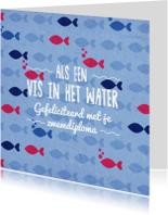 Geslaagd kaarten - Zwemdiploma vis 2