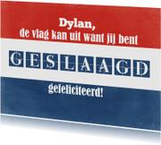 Geslaagd kaarten - 13122 Geslaagd Vlag met naam