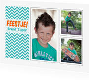Kinderfeestjes - 15309 Uitnodiging zigzag 3x foto