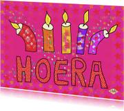 Verjaardagskaarten - Ansichtkaart Hoera roze