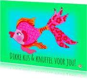 Ansichtkaarten - Ansichtkaart kus & knuffel