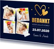 Trouwkaarten - Bedankkaart bruiloft fotocollage goud hartjes