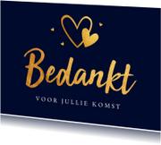 Trouwkaarten - Bedankkaart bruiloft goud hartjes