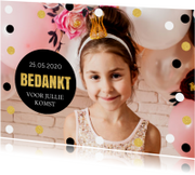 Communiekaarten - Bedankkaart communie confetti goud foto
