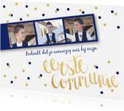 Communiekaarten - Bedankkaart Communie fotostrip confetti blauw