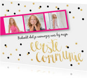 Communiekaarten - Bedankkaart Communie fotostrip confetti roze