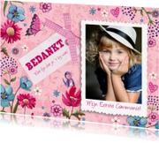 Communiekaarten - Bedankkaart Communie Roze Bloemen