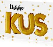 Bedankkaart dikke kus gouden ballonnen