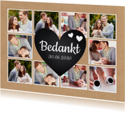 Trouwkaarten - Bedankkaart fotocollage hart kraft