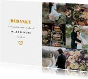 Trouwkaarten - Bedankkaart met fotocollage en gouden accenten liggend