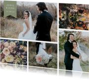 Trouwkaarten - Bedankkaart met fotocollage en label met namen