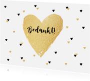 Trouwkaarten - Bedankkaartje trouwen hartjes goud zwartwit