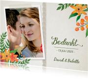 Trouwkaarten - Bedankt kaart trouwen bloemen