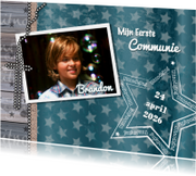 Communiekaarten - Communie hout ster kruis foto