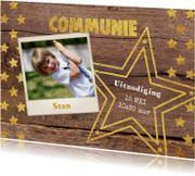 Communie stoere foto kaart hout en sterren