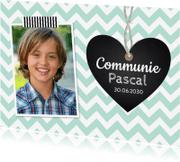 Communiekaarten - Communiekaart foto hartje mint jongen