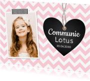 Communiekaarten - Communiekaart foto hartje roze meisje