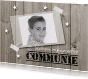 Communiekaarten - Communiekaart hout met foto