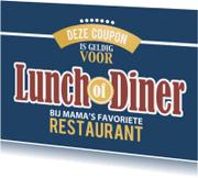 Moederdag kaarten - Coupon - lunch of diner