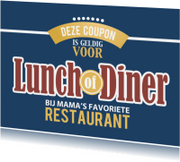 Moederdag kaarten - Coupon - lunch of diner