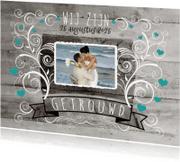 Trouwkaarten - Decoratief Hout Getrouwd - BK