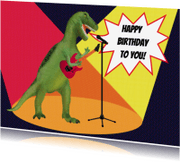 Verjaardagskaarten - Dino Rocker Birthday
