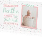 Doopkaarten - Doopkaart mint roze meisje foto