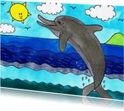 Dierenkaarten - Een vrolijke dolfijn in de zee